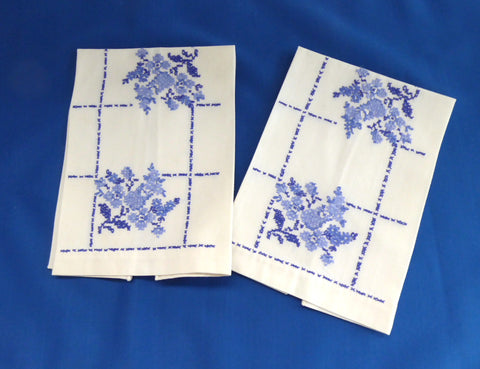 Guest Towel Pair Hand Embroidered Cross Stitch Blue And White Floral 1940s