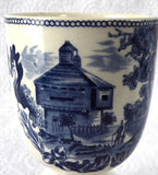 Historic America Blue Transferware Eggcup Johnson Brothers Double Vintage 1940s Ironstone