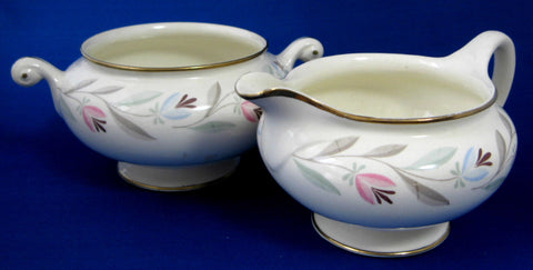 Eggshell Nautilus Cream And Sugar Homer Laughlin 1940s Stylized Tulips