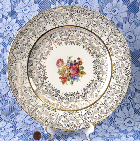 Charger Homer Laughlin Layfayette China Service Plate 22kt Gold Overlay Floral Bouquet 1940s