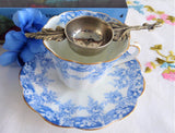 Tea Strainer Foliage Shape Italy 1940s Silver Plate Over The Cup Vintage Tea Leaf Catcher