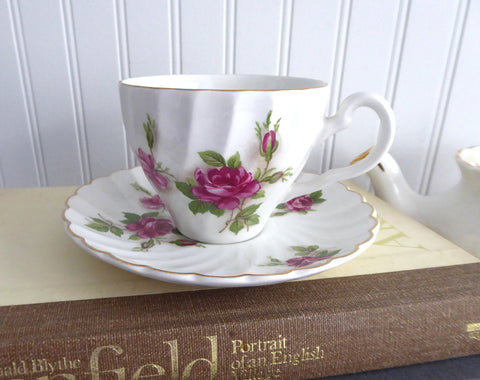 Cup And Saucer Pink Roses Swirl Shape Gold Johnson Brothers 1940-1950s