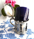 Mappin And Webb Gothic 1940s Mustard Jam Cobalt Blue Ceramic Liner Silver Plated Cruet