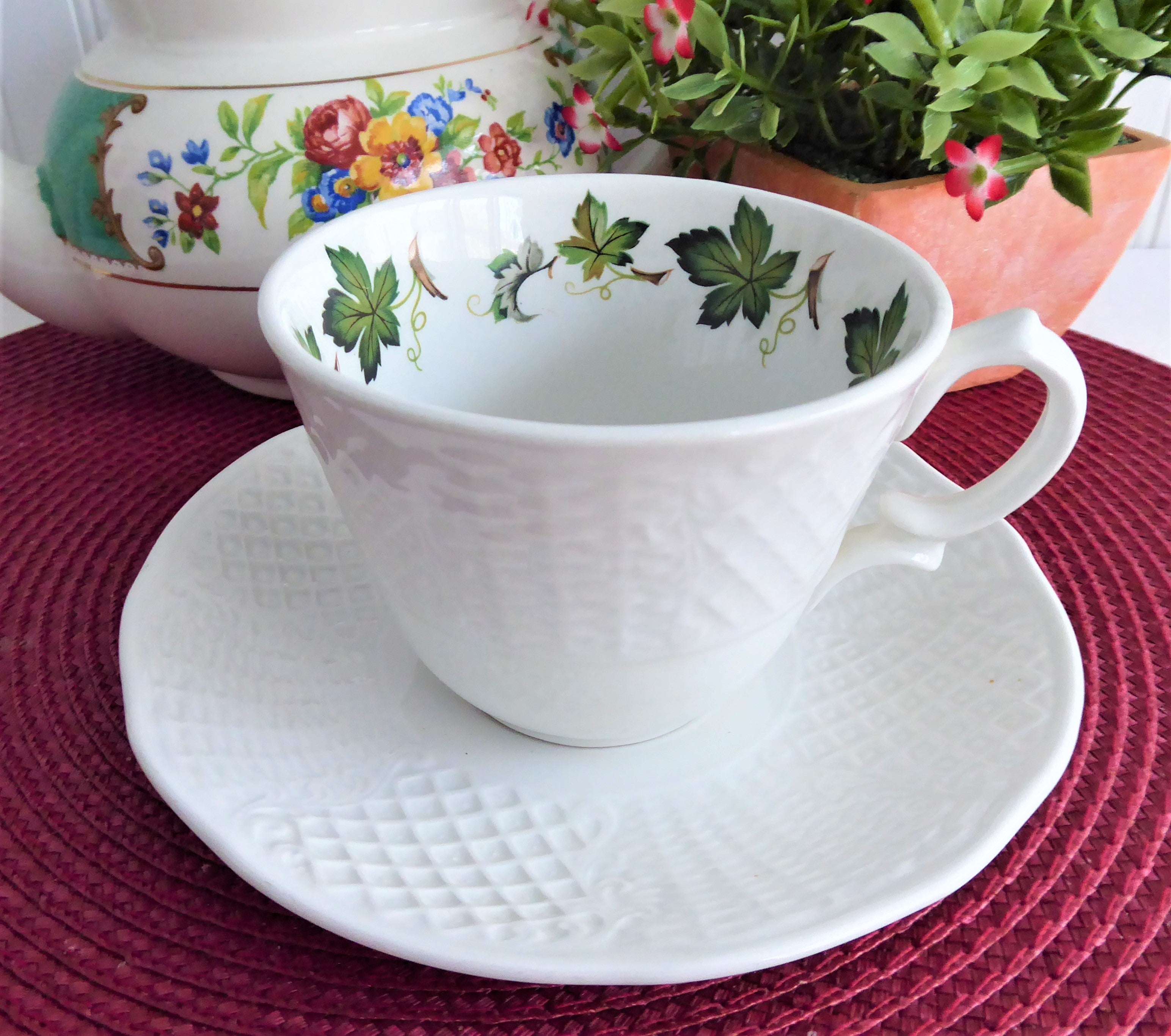 Queens Rosina Cup and Saucer Heavy Gold Bluebells White Apple Blossom and Roses Forget Me Nots