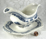 Blue Transferware Gravy Boat Masons Manchu Ironstone 1940s English Transferware