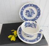 Teacup Trio Ironstone Blue Transferware Masons Manchu 1940s TLC