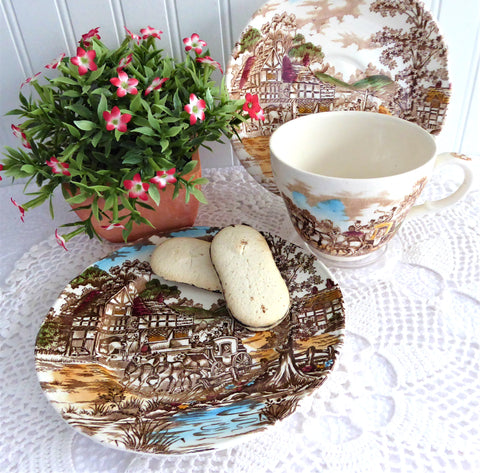 Coaching Days Beakfast Size Teacup Trio Polychrome Transferware 1940s