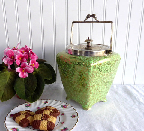 English Brama Gold Green Chintz Biscuit Barrel 1940s Cookie Jar Floral Midwinter