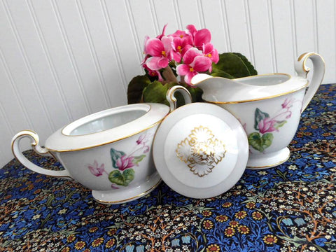 Noritake Cream and Sugar Cyclamen Lovely Vintage 1940s Pattern 5035