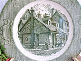 Old Curiosity Shop Green Transferware Dinner Plate 1940s Royal China 10 Inch