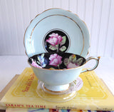 Paragon Cup And Saucer Gorgeous Aqua Pink Roses On Black 1940s Hand Painted
