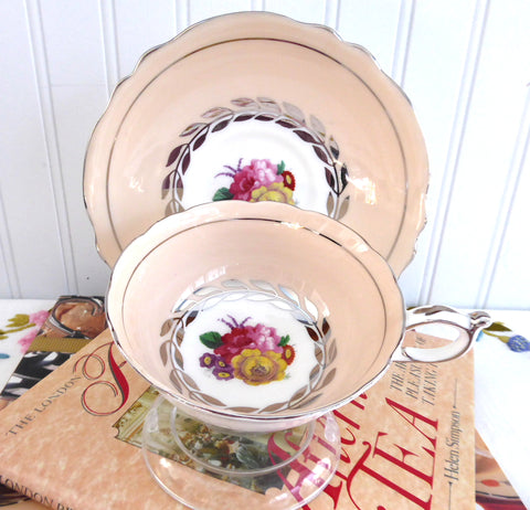 Paragon Cup And Saucer Gorgeous Peach Apricot 1940s Floral Bouquet Platinum Wreath