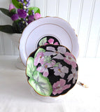 Geraniums Paragon Cup And Saucer Gorgeous Lavender Black 1920s Hand Painted