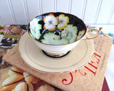 Apricot Geraniums Paragon Cup And Saucer Gorgeous Peach Black 1940s Hand Painted