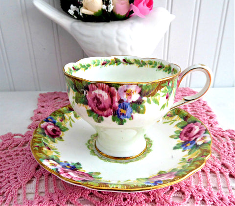 Vintage Cup And Saucer Paragon Tapestry Rose Corset Shape 1940s Double Warrant