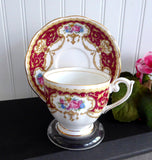 Queen Anne Regency English Cup And Saucer 1950s Floral Maroon Scrolls Elegant