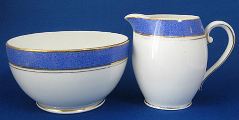 Cream And Sugar Blue Mottled Bands Gold Trim Creamer Radfords 1930s