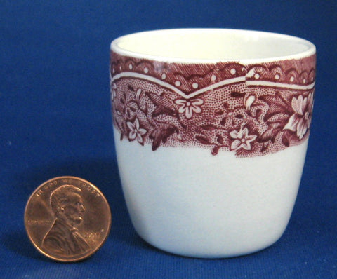 Barratts Old Castle Red Transferware Eggcup Single Vintage 1940s Ironstone