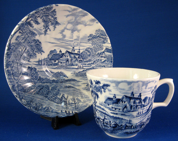 Cup And Saucer Meadowsweet Blue Transferware Ridgway 1940s