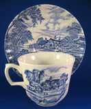 Cup And Saucer Meadowsweet Blue Transferware Ridgway 1940s Ironstone