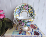 Rosina Pansy Cup And Saucer Colorful Hand Colored Pansies 1940s