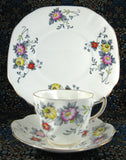 Rosina England Cup and Saucer With Plate Art Deco Stylized Floral 1948-1952