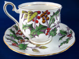 Royal Albert December Holly Cup And Saucer Flower Of The Month 1940s Christmas