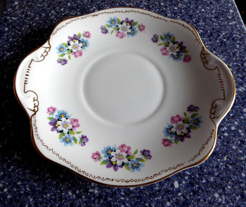 Royal Tara Ireland Cake Serving Plate Blue And Pink Flower Bouquets Bone China 1950s