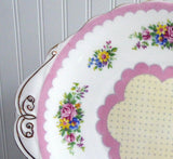 Royal Albert Cake Plate Prudence Pink Cake Server 1940s Flowers Polka Dots
