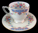 Royal Crown Bohemia Cup And Saucer Floral Blue Scrolls 1940s Czechoslovakia