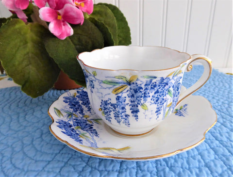 Wistaria Cup and Saucer Hand Colored On Blue Transfer 1940s Royal Stafford England