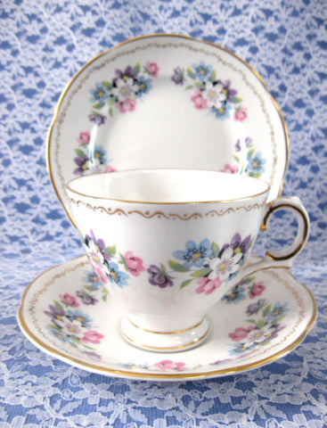 Royal Tara Ireland Teacup Trio Blue And Pink Flower Bouquets Bone China 1940s Large Cup