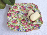 Summertime Chintz Royal Winton Grimwades Square Salad Plate 1940s Floral Chintz