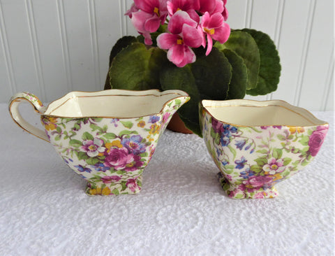 Summertime Chintz Royal Winton Sugar And Cream Creamer 1940s Squared