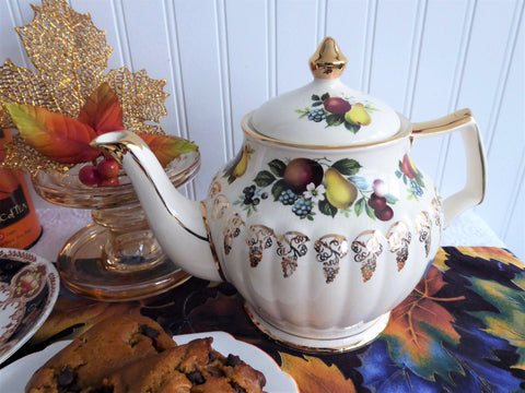 Sadler Fruit Teapot Gold Grape Overlay 1950s Large Original Sticker Vintage Tea Pot 4-6 Cups
