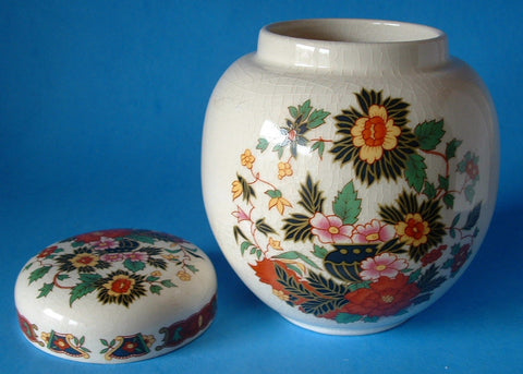 Sadler Ginger Jar Tea Caddy Indian Tree Pattern 1940s Tea Canister