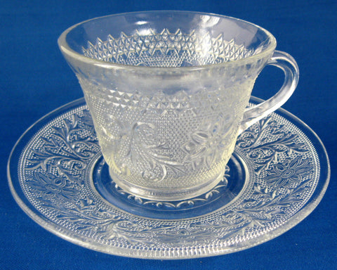 Sandwich Pattern Cup And Saucer Indiana Glass Duncan 1930s Depression Glass Teacup And Saucer