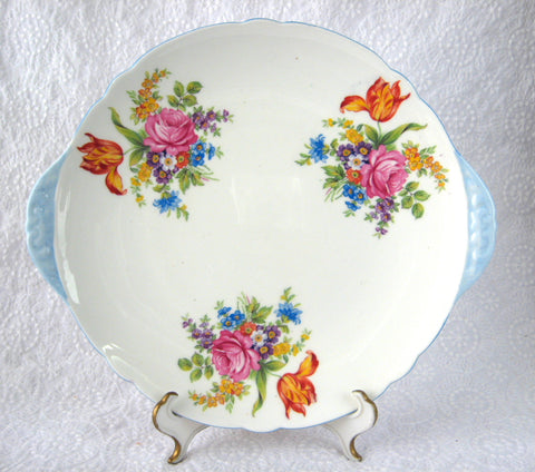 Shelley England Tabbed Cake Plate Davies Tulip Blue Trim Round Sandwich Serving Plate