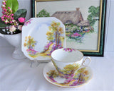 Shelley England Charm Teacup Trio Lovely Landscape 1940s Old Cambridge Gold Trim