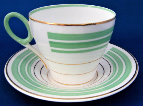 Shelley Art Deco Cup and Saucer Oxford Shape Green Gold Bands 1934-1939