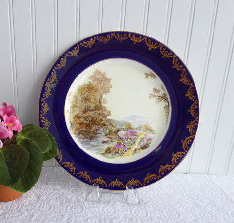Shelley Dinner Plate Heather Blue Gold Overlay 10.75 Inch Plate 1950s