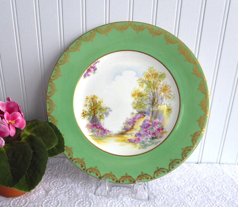 Shelley Dinner Plate England Charm Green Charger Gold Overlay 10.75 Inch Plate 1940s
