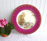 Fancy Shelley Dinner Plate Maroon Heather Gold Overlay 10.75 Inch Plate 1950s