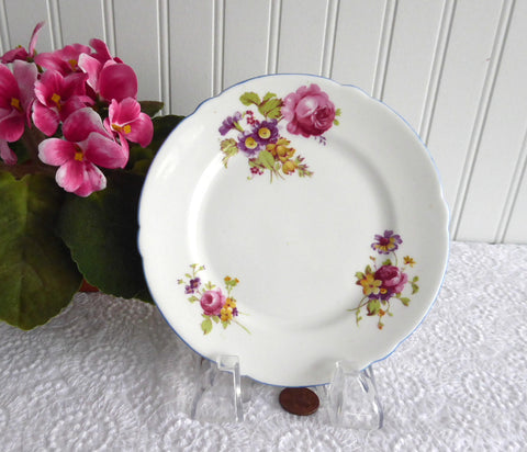Shelley Bread Plate Gainsborough Floral Blue Trim 6 Inch Cake Plate 1950s
