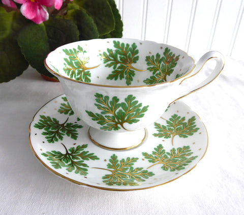 Shelley England Cup and Saucer Gold Veined Green Leaves Gainsborough 1950s Pedestal