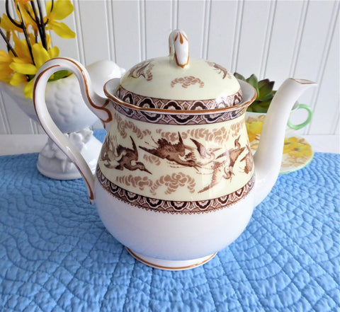 Shelley Tea Pot Storks Herons Yellow Brown Gainsborough Shape Teapot