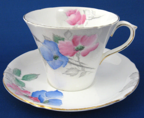 Shelley Cup And Saucer Dog Rose Art Deco Perth England 1940s Pink Blue