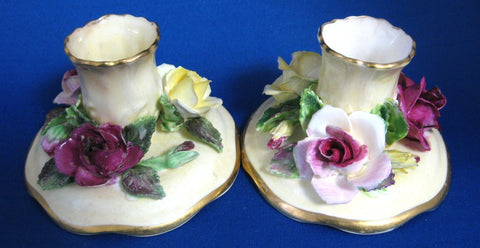 Crown Staffordshire Candle Holder Pair Flowers Vintage Hand Made 1940s Romantic Tea Party