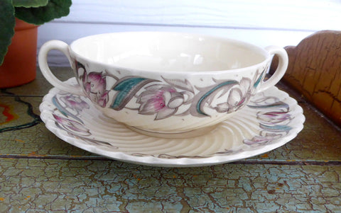 25% OFF Today! Vintage 1940s Susie Cooper Endon Ribbed Cream Soup And Saucer Liner Plate Burslem