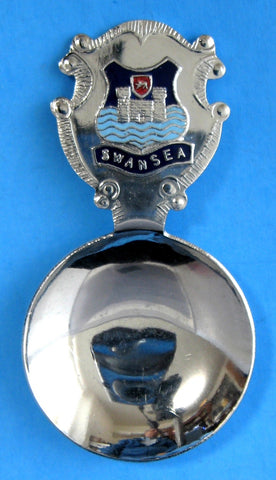 Tea Caddy Spoon Swansea Wales Tea Scoop 1940s Souvenir Enamel Finial